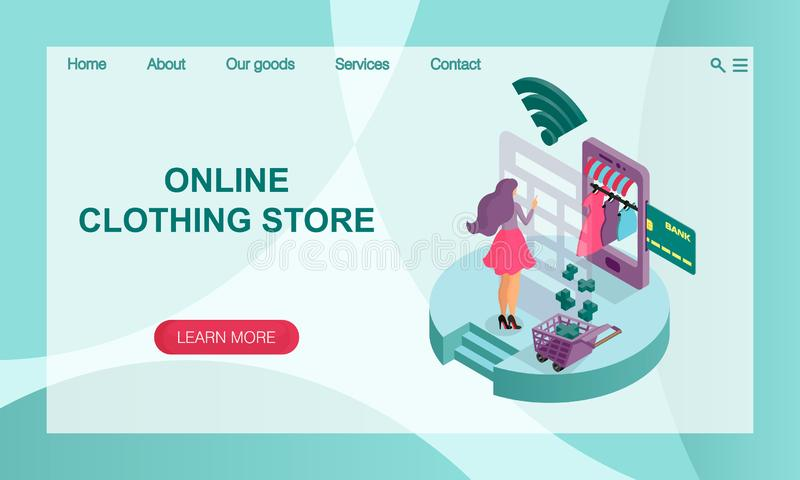 The concept of online online store of women`s clothing. 3D isometric  illustration. Vector website landing page design template. The concept of online online vector illustration