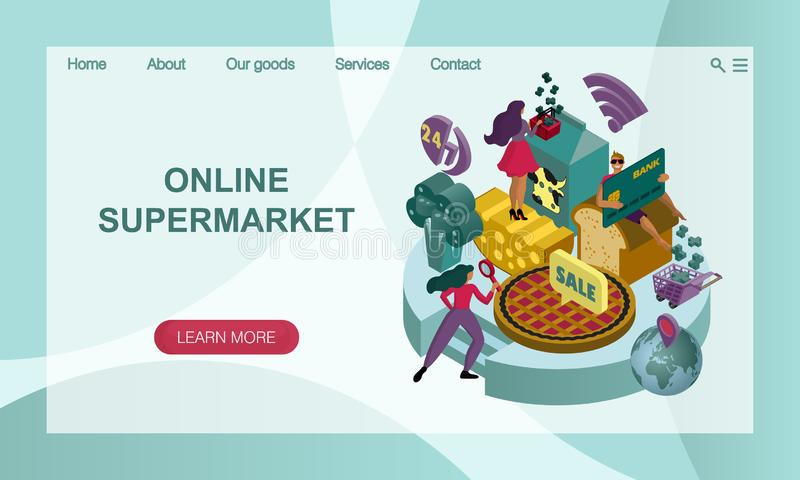 The concept of an online supermarket with giant food. 3D isometric  illustration. Vector website landing page design template. The concept of an online stock illustration