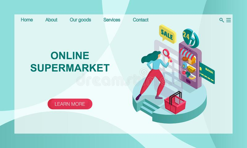 The concept of online supermarket. 3D isometric  illustration. Vector website landing page design template. The concept of online supermarket. Services and royalty free illustration