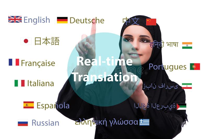 Concept of online translation from foreign language stock photos