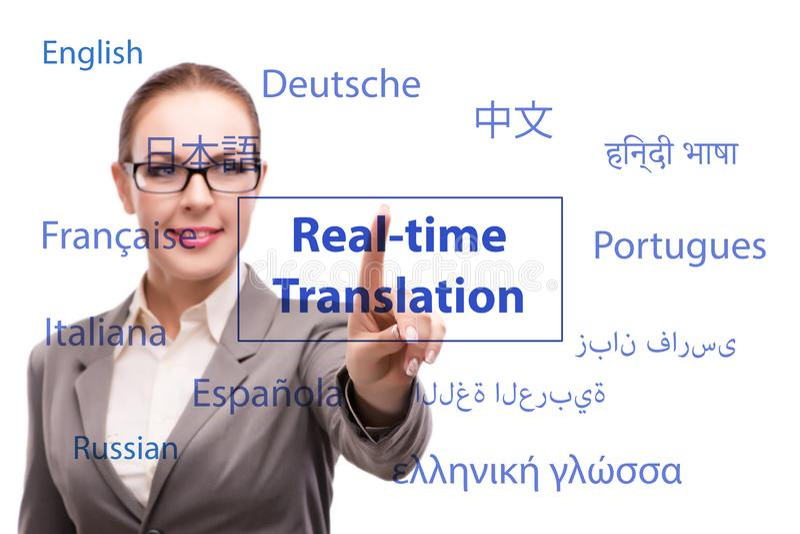 Concept online vertaling van vreemde taal stock foto