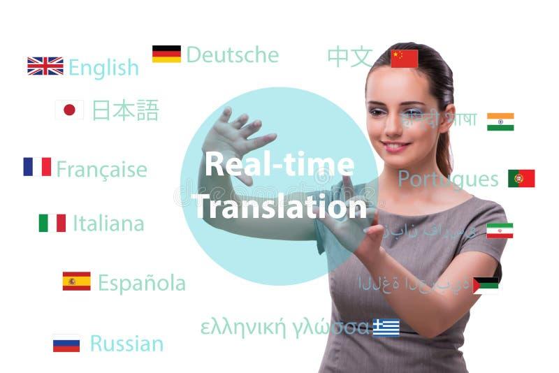 Concept online vertaling van vreemde taal stock afbeelding