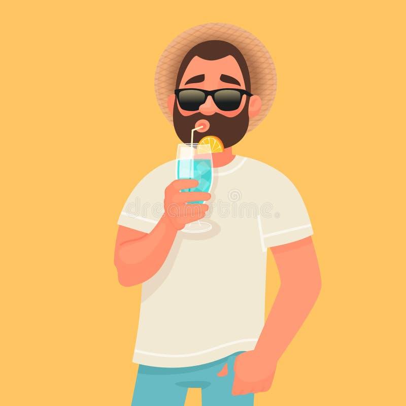 Concept ontspanning en de zomervakantie Een mens in zonnebril drinkt een cocktail Rust door het overzees royalty-vrije illustratie