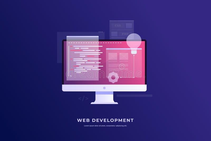 Concept ontwikkeling en software Monitor met programmacode inzake het scherm en open Web-pagina's stock illustratie