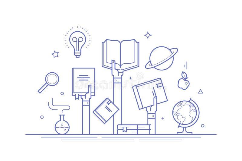 Concept op kennis en onderwijs De dunne samenstelling van het lijn vlakke ontwerp voor banners, sociale media posten en druk royalty-vrije illustratie
