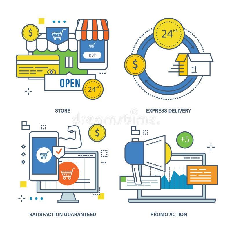 Concept opslag, uitdrukkelijke levering, gewaarborgde tevredenheid, promoactie stock illustratie