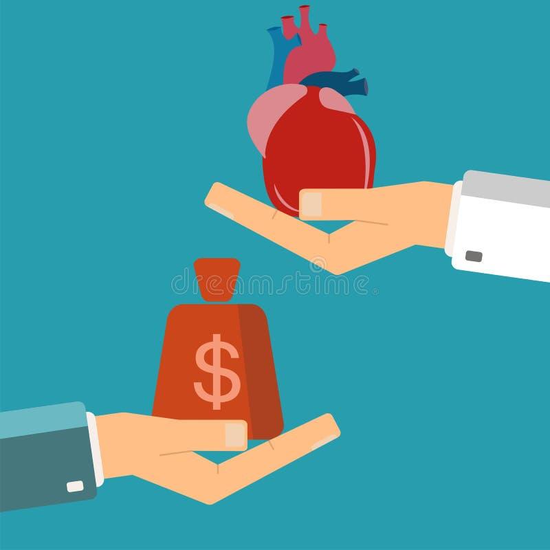 Concept orgaantransplantatie Kopend hart Hand die menselijk hij houden stock illustratie