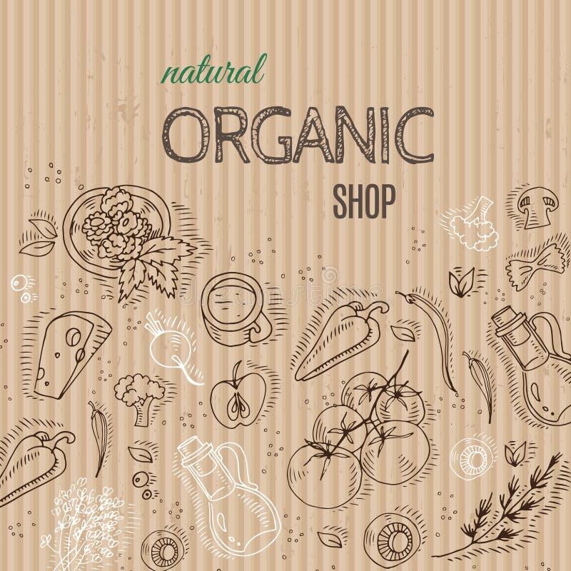 Concept organique de boutique avec des légumes sur le carton illustration de vecteur