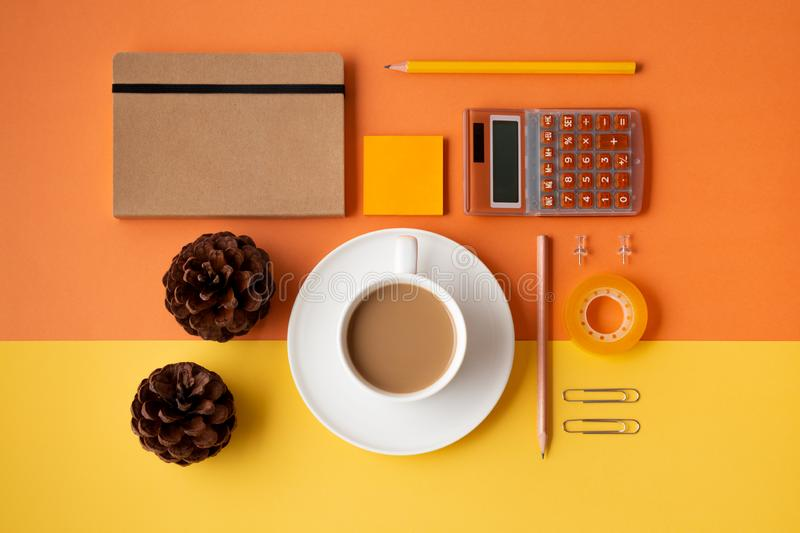 Concept of organized workspace in autumn or winter stock photography