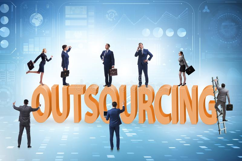 Concept of outsourcing in modern business stock images