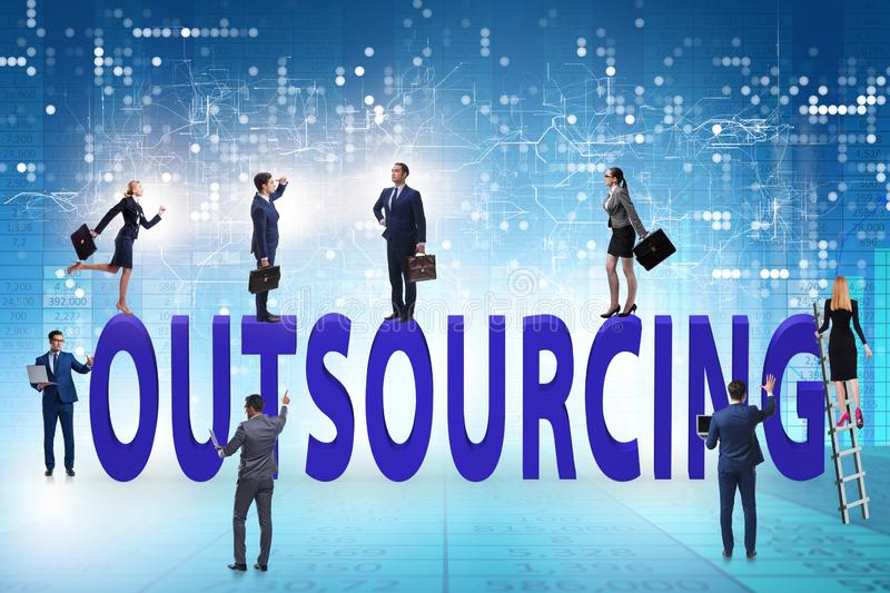 Concept of outsourcing in modern business stock photos