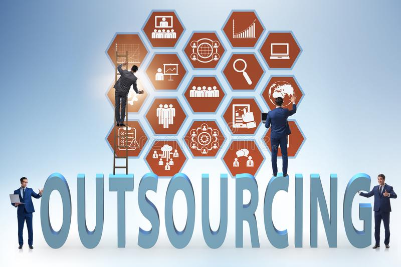 Concept of outsourcing in modern business royalty free stock photos