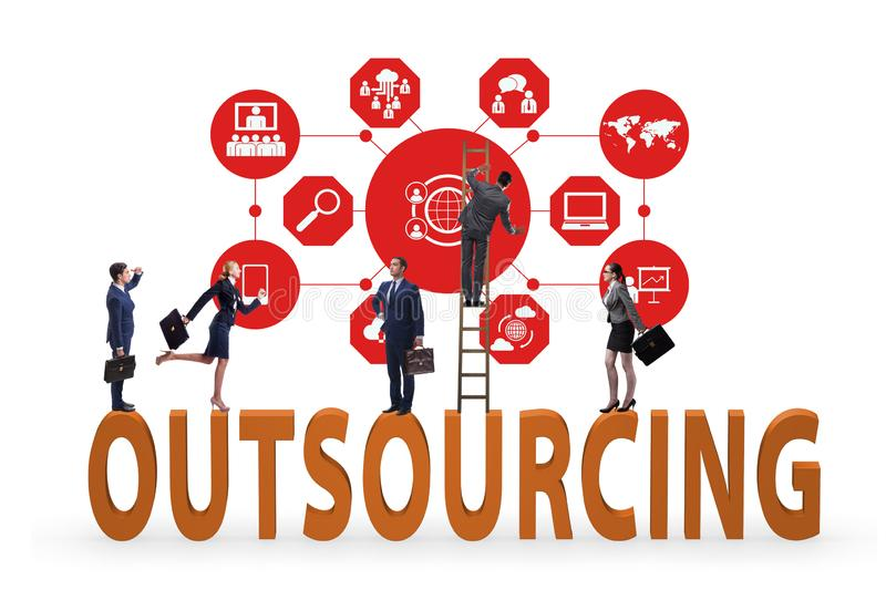 Concept of outsourcing in modern business stock photography