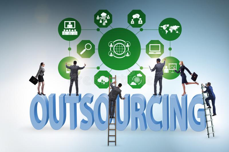 Concept of outsourcing in modern business stock image