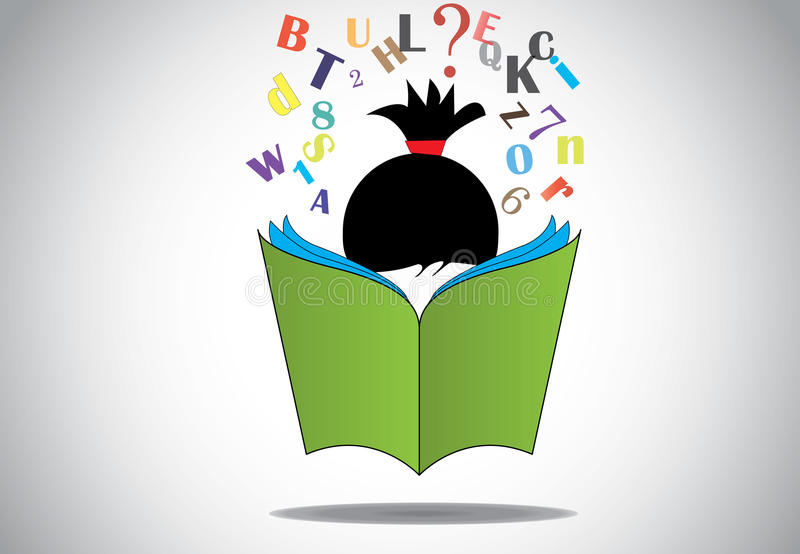 Concept ouvert de lecture d'éducation de livre du vert 3d de jeune enfant futé de fille illustration de vecteur