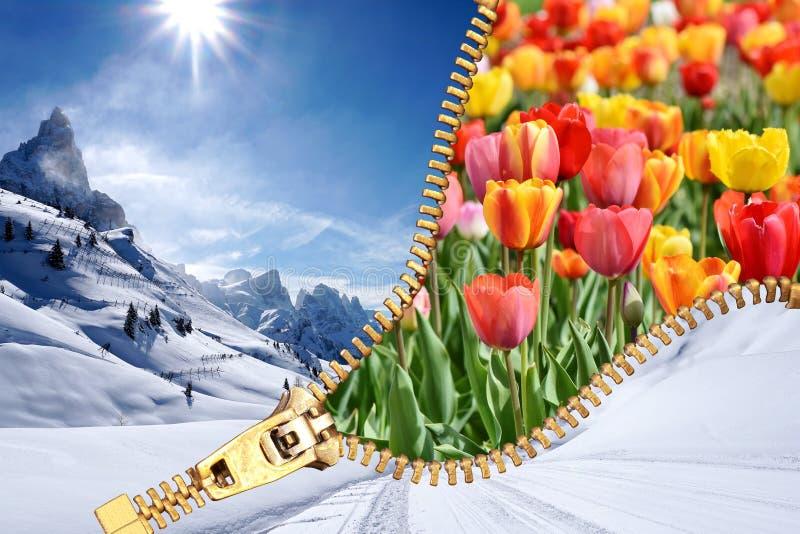 Concept ouvert de transition de saison de fermeture éclair de ressort d'hiver illustration libre de droits