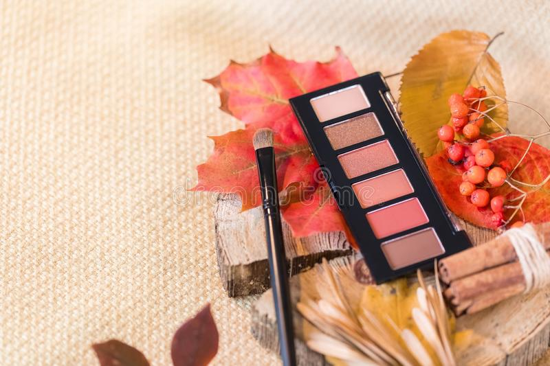 The concept of a palette of autumn paints in a stick of shadows shade nude for makeup. stock image