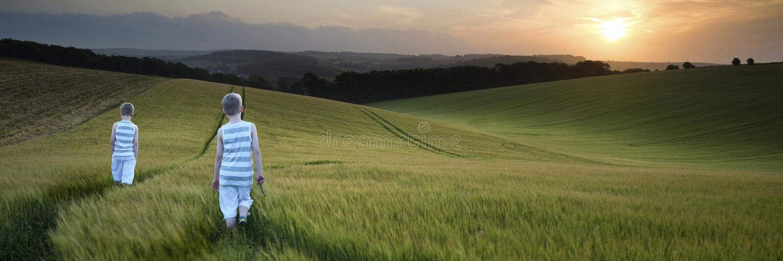 Concept panorama landscape young boys walking through field at s stock photos