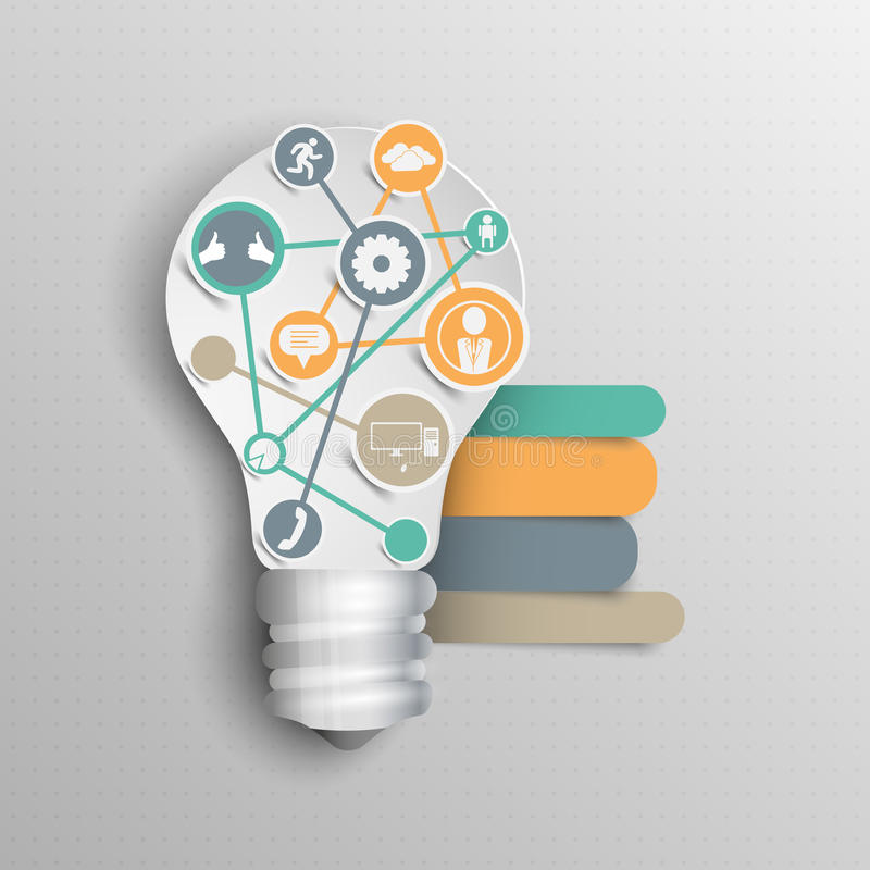 Concept paper lamp with your ideas for business infographics royalty free illustration