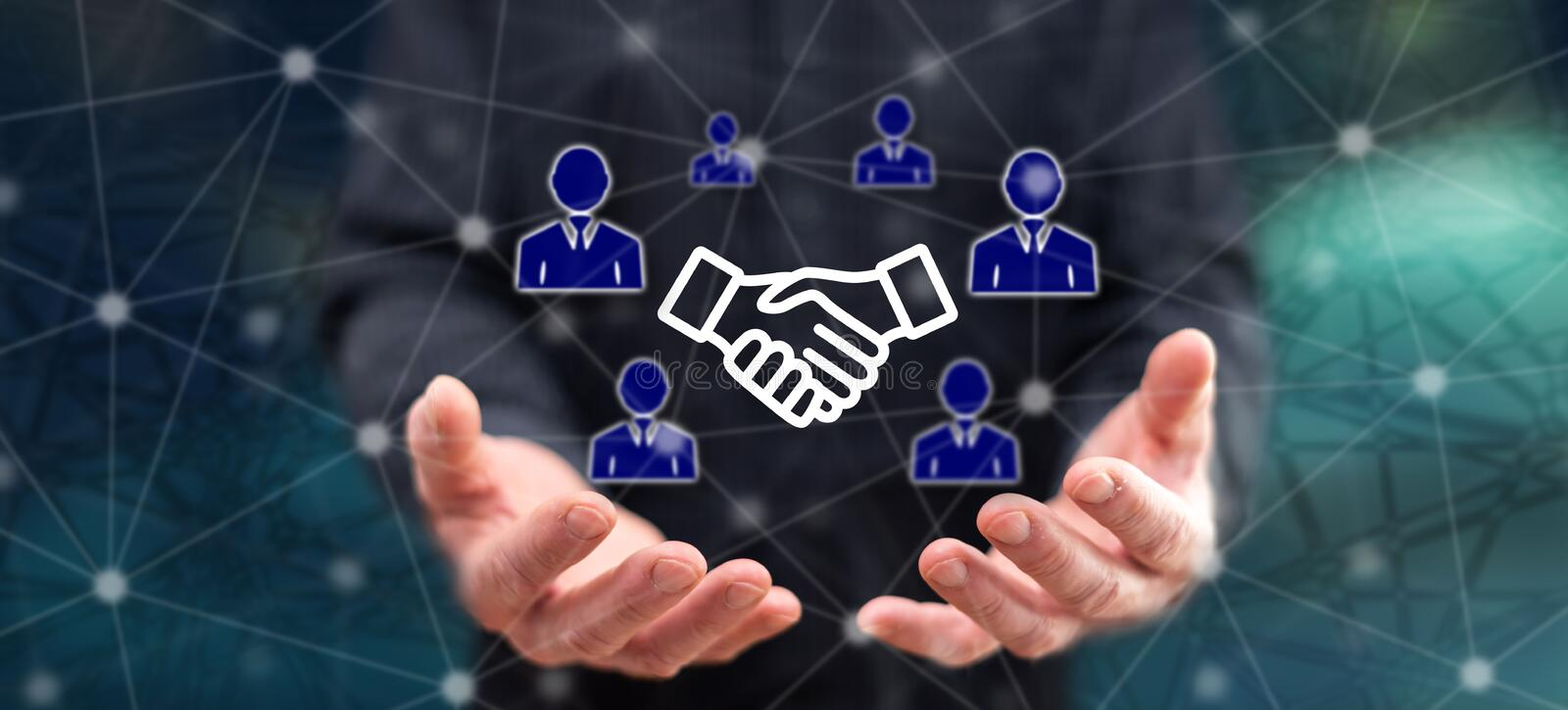 Concept of partner. Partner concept above the hands of a man in background royalty free stock images