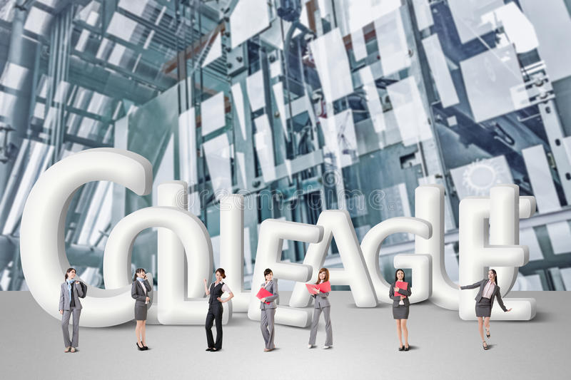 Concept of partner. Friends,collaborate with group of business people stand with 3d text royalty free illustration