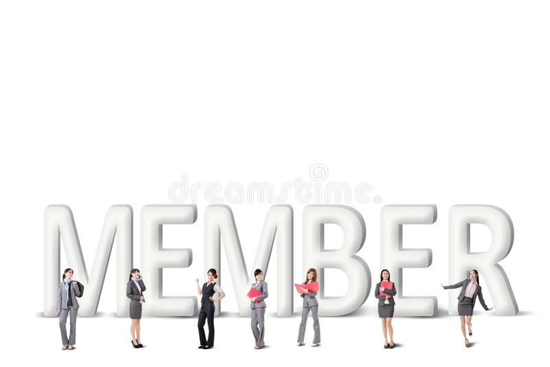 Concept of partner. Friends,collaborate with group of business people stand with 3d text vector illustration