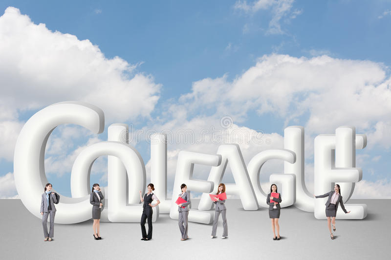 Concept of partner. Friends,collaborate with group of business people stand with 3d text stock illustration