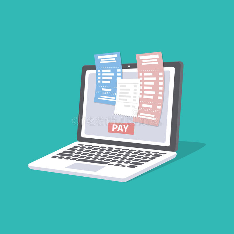 Concept of pay bills tax accounts online via computer or laptop. Online payment service. Laptop with checks and invoices. On the screen. Pay button. Vector stock illustration