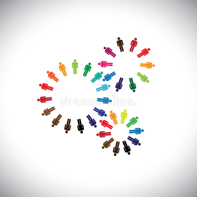 Concept of people as cogwheels representing communities & teams royalty free illustration