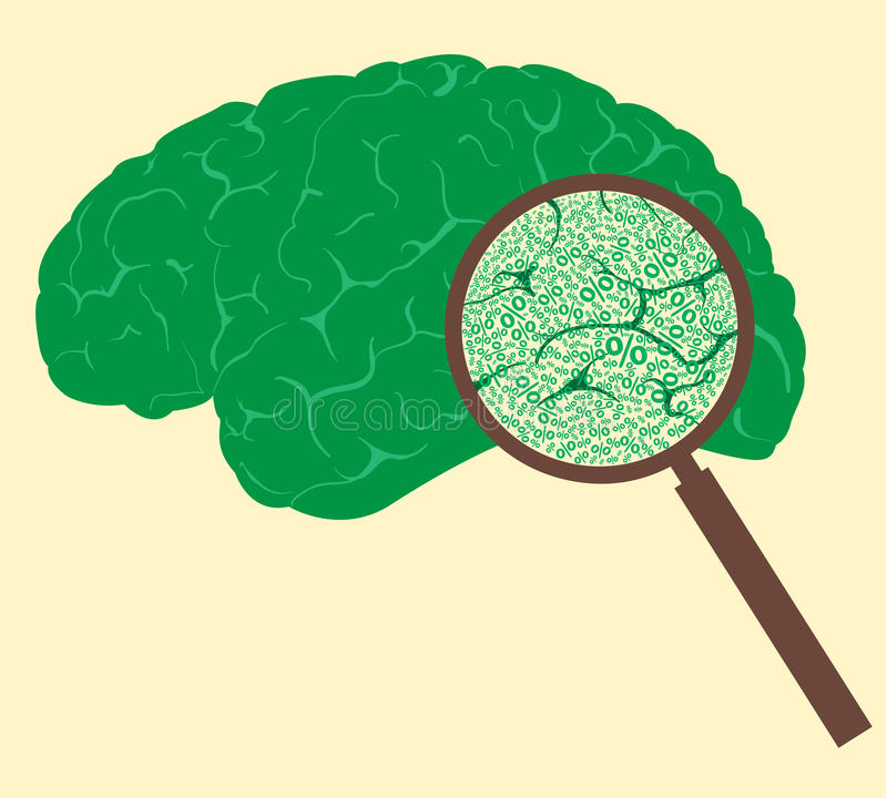 Concept with percentage mark and human brain. vector illustration