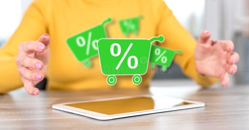 Concept percentenkorting royalty-vrije stock afbeeldingen