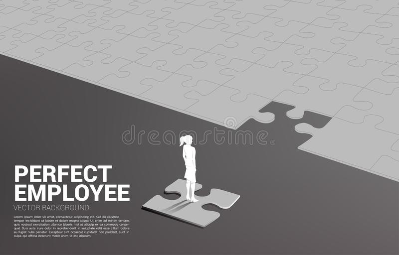 Silhouette of businessman standing on final jigsaw piece. royalty free illustration