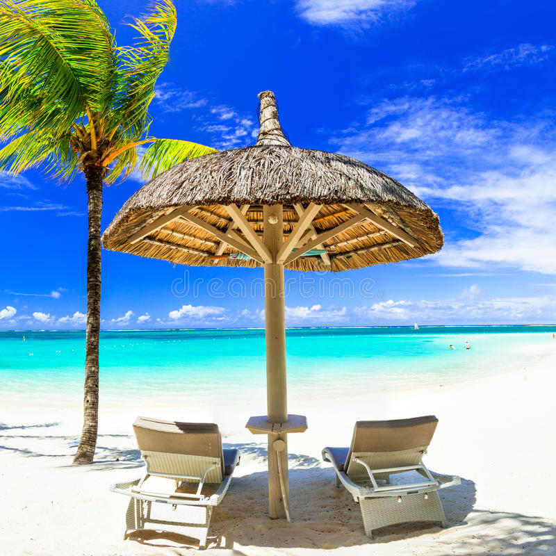 Concept of perfect tropical holidays - white sandy beaches and t. Tropical paradise in Mauritius island royalty free stock photos