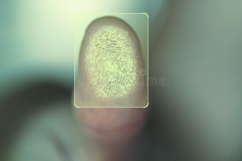 Concept for personal and corporate security using biometric identity fingerprint scan. Advanced technology for business and internet safety control. Glowing stock photos
