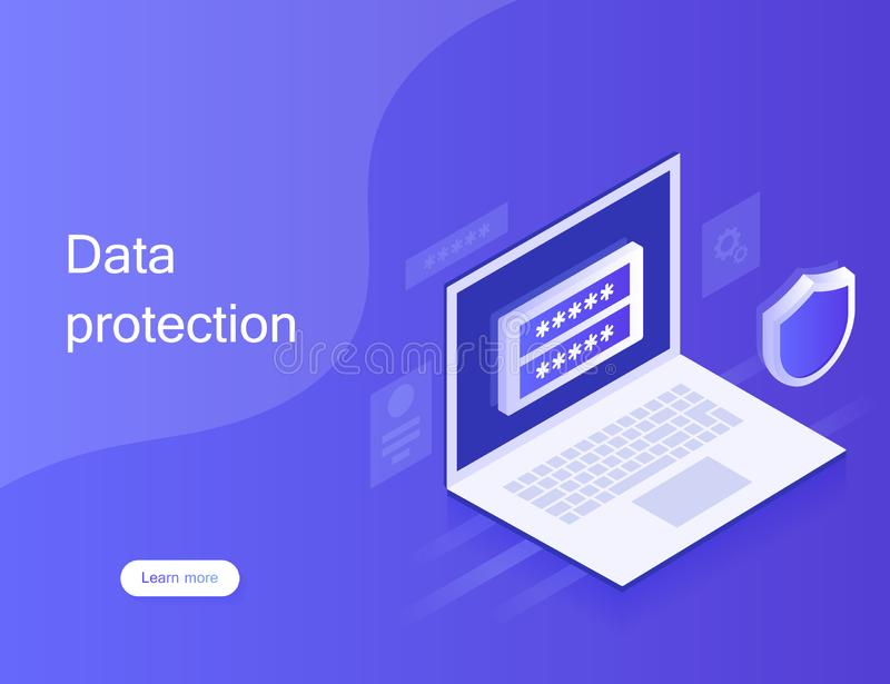Concept personal data protection, web banner. Cyber security and privacy. Traffic Encryption, VPN, Privacy Protection Antivirus. vector illustration