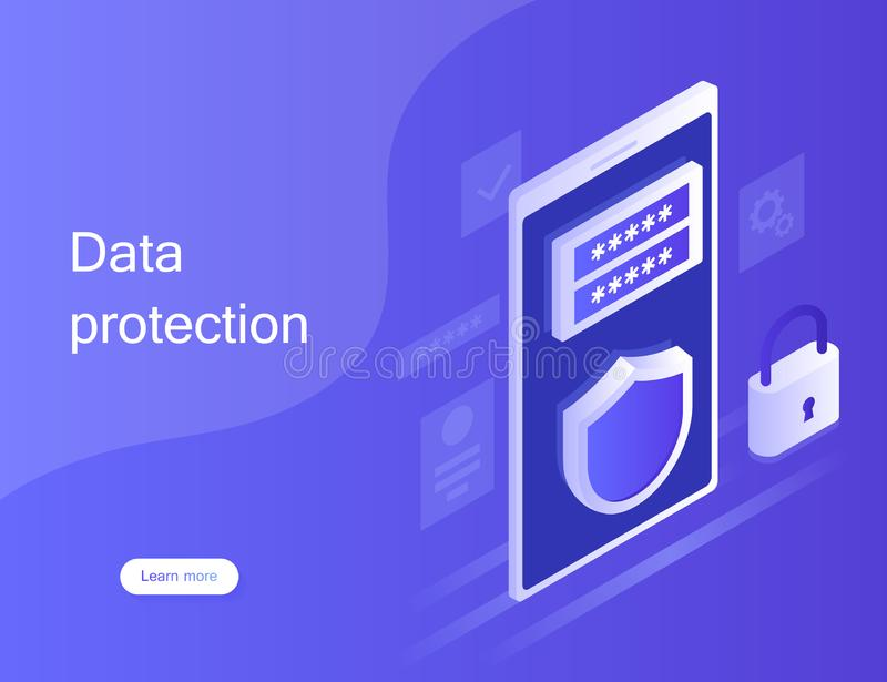Concept personal data protection, web banner. Cyber security and privacy. Traffic Encryption, VPN, Privacy Protection Antivirus. stock image