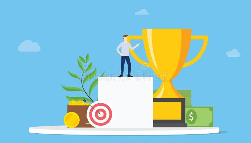 Concept personnel de cible de buts élevés avec des personnes et l'accomplissement et dard avec le grand trophée - vecteur illustration de vecteur