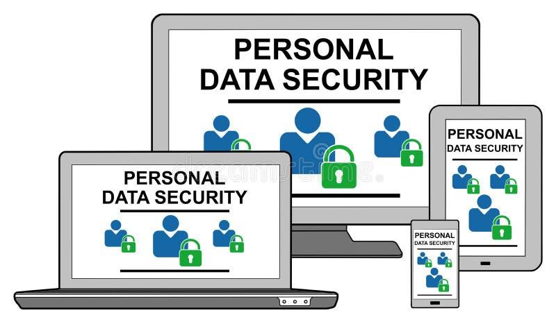 Concept personnel de protection des données sur différents dispositifs illustration de vecteur