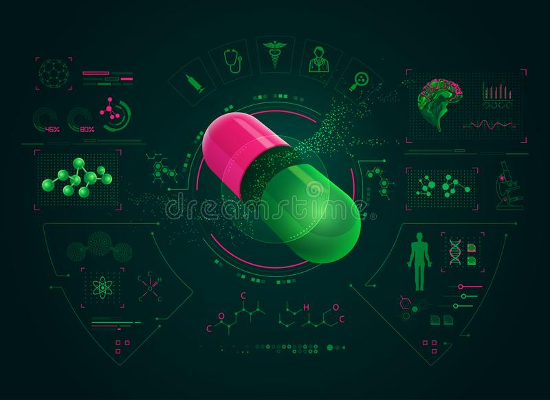 Pharmaceutical. Concept of pharmaceutical technology or medical health care, realistic pill with science analysis interface royalty free illustration