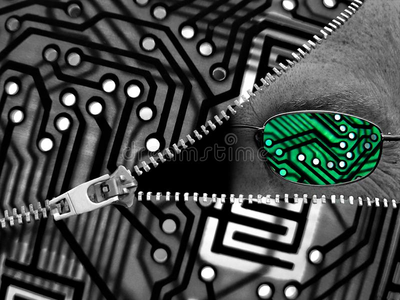 Ai artificial intelligence specs glasses printed circuit board unzipped zip zipper digital comms agent. Concept photo of artificial intelligence agent peering stock image