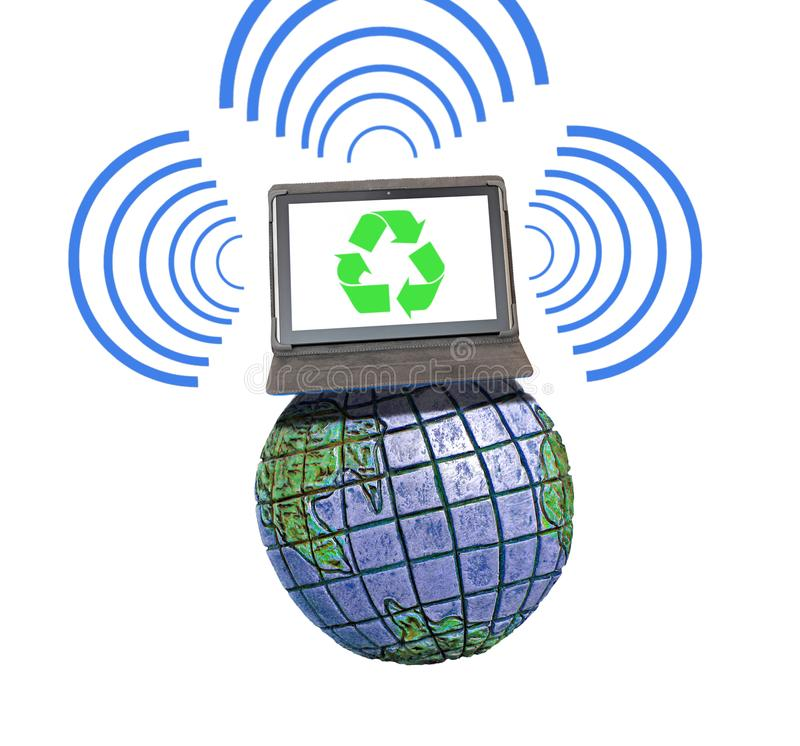 Global international communications network comms. Concept photo of business recycling sign on tablet device computer on top of the world communicating with royalty free stock photography