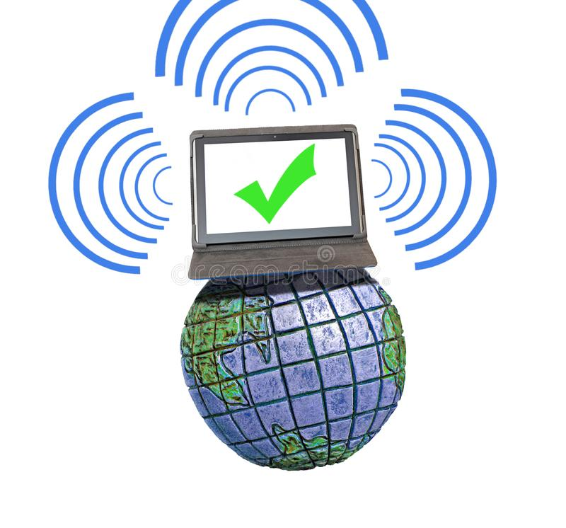 Global international communications network comms. Concept photo of business success tablet device computer on top of the world communicating with digital royalty free stock photos
