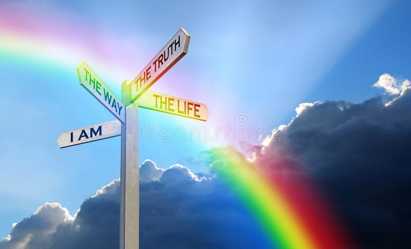 Jesus bible way truth life word god signpost direction arrows arrow guidance information religion religious faith christian. Concept photo of direction arrows stock photo