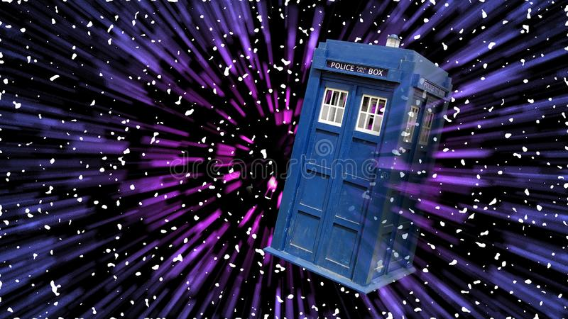 Science fiction doctor who tardis time travel space galaxy daleks dalek royalty free stock photo