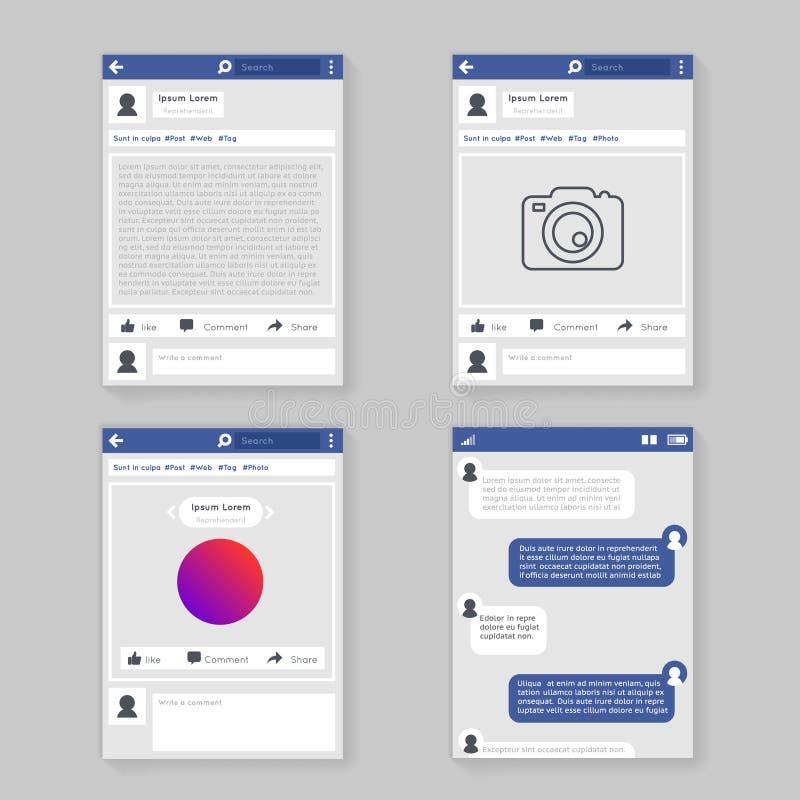 Concept photo frame social network window message chatting messaging flat design vector illustration royalty free illustration
