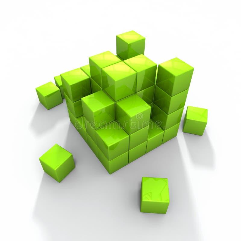 Concept photo of green building blocks stock illustration