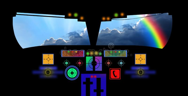 Aeroplane cockpit plane aircraft flying rainbow aerial vehicle pilot captain. Concept photo of inside of pilots cabin cockpit aeroplane with window view of vector illustration