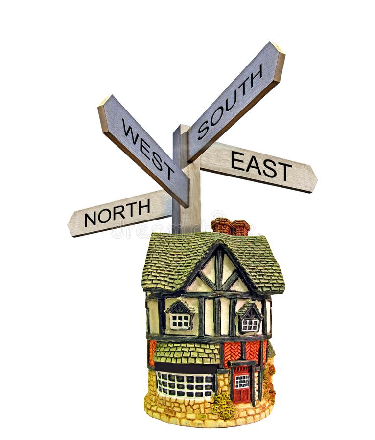 Property moving sign post arrows direction north south east west stock images