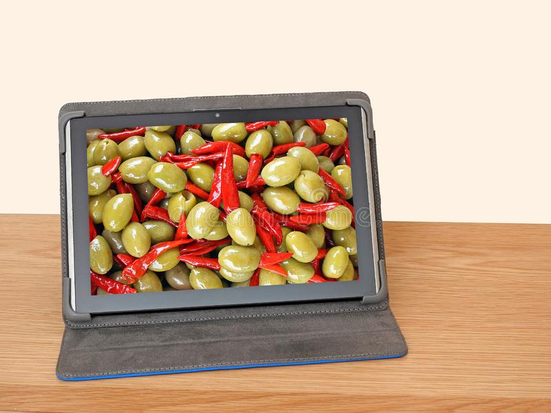 Order buy sell fruit vegeatbles online computer. Concept photo of ordering buying selling fresh fruit vegetable from market online stock images