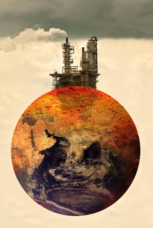 Concept photo of pollution on earth stock photography